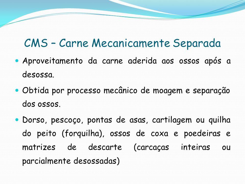 CMS – Controle da matéria-prima e produto final Matéria-prima: Transporte: resfriada: -2 a 0ºC; congelada: -18ºC.