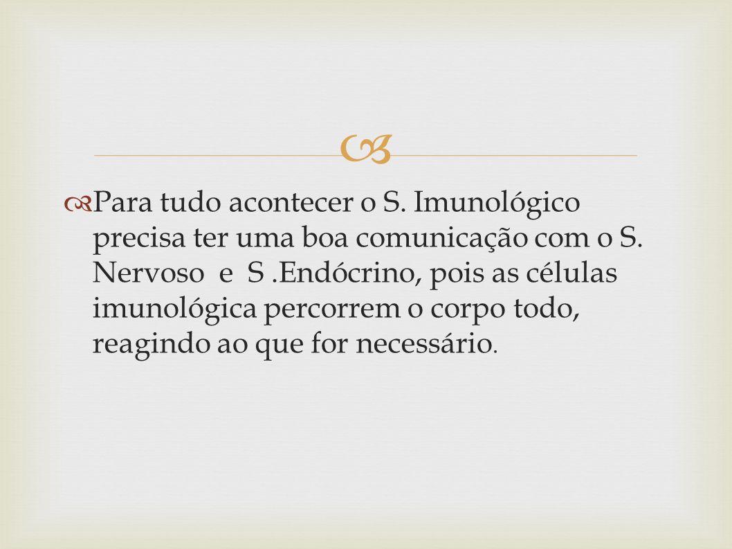 Para tudo acontecer o S. Imunológico precisa ter uma boa comunicação com o S. Nervoso e S.Endócrino, pois as células imunológica percorrem o corpo tod