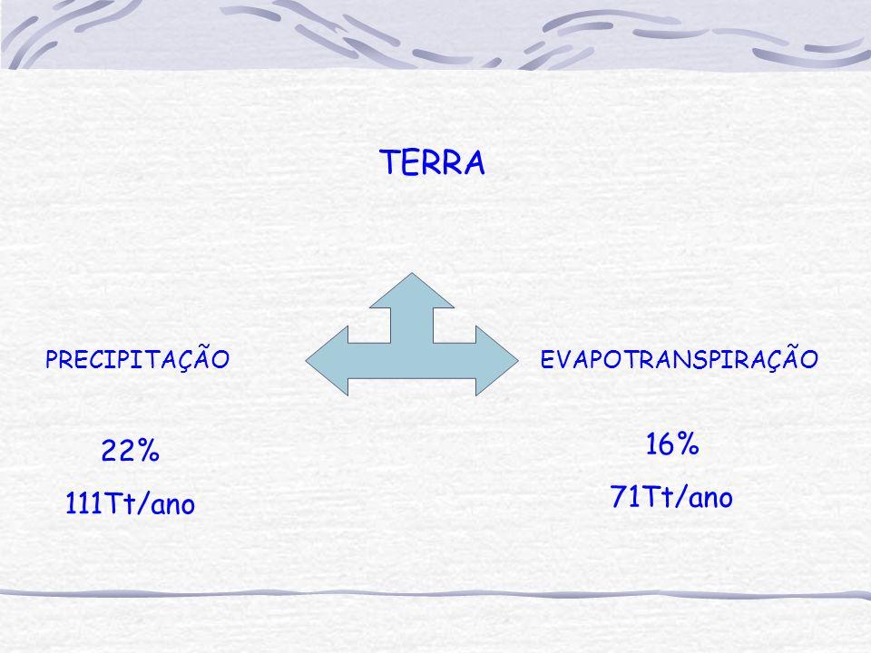 TERRA PRECIPITAÇÃO EVAPOTRANSPIRAÇÃO 22% 111Tt/ano 16% 71Tt/ano