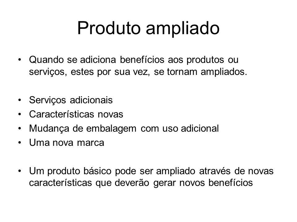 Produto ampliado Quando se adiciona benefícios aos produtos ou serviços, estes por sua vez, se tornam ampliados. Serviços adicionais Características n