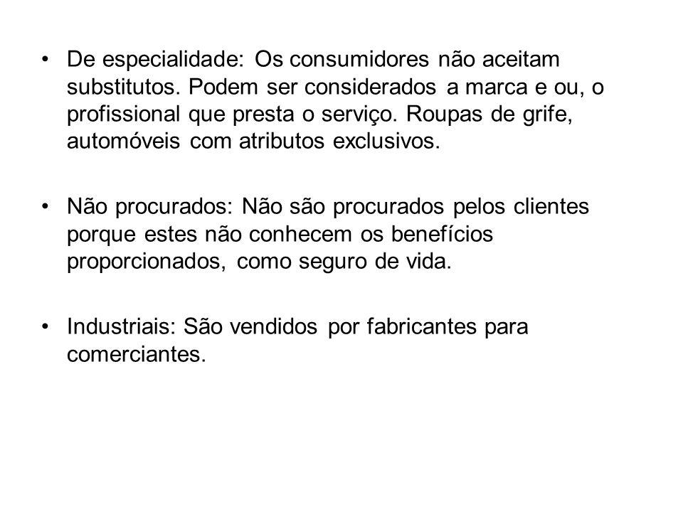 De especialidade: Os consumidores não aceitam substitutos.