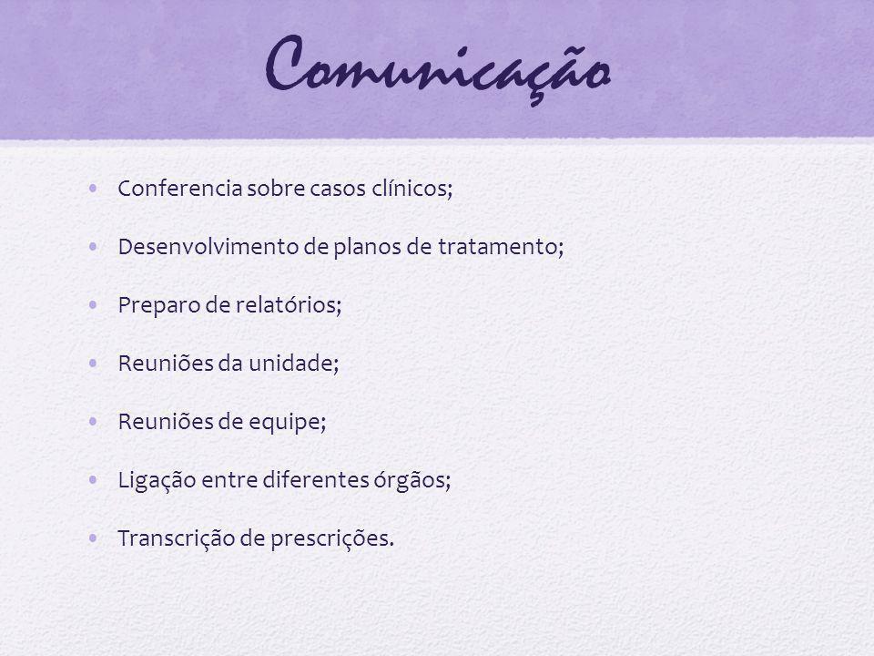 Comunicação Conferencia sobre casos clínicos; Desenvolvimento de planos de tratamento; Preparo de relatórios; Reuniões da unidade; Reuniões de equipe;