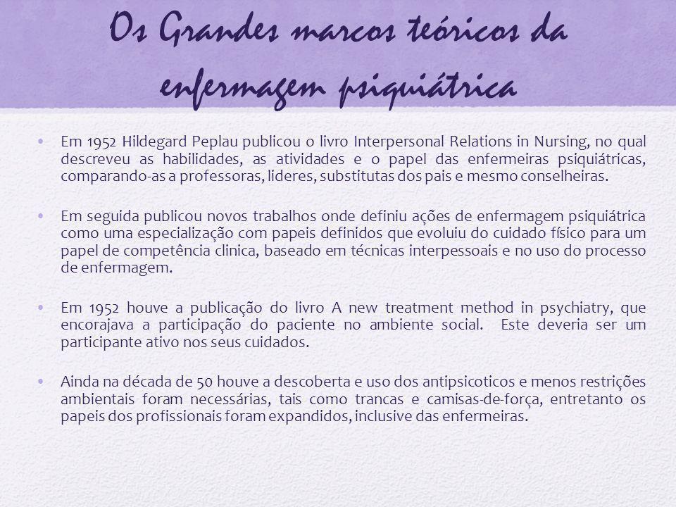 Os Grandes marcos teóricos da enfermagem psiquiátrica Em 1952 Hildegard Peplau publicou o livro Interpersonal Relations in Nursing, no qual descreveu