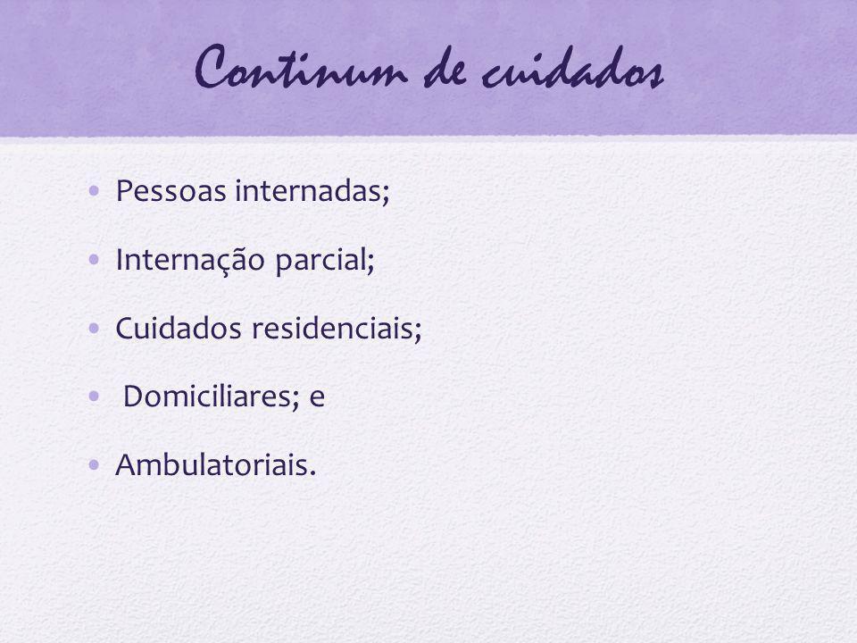 Continum de cuidados Pessoas internadas; Internação parcial; Cuidados residenciais; Domiciliares; e Ambulatoriais.