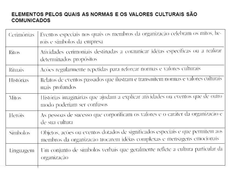 ELEMENTOS PELOS QUAIS AS NORMAS E OS VALORES CULTURAIS SÃO COMUNICADOS