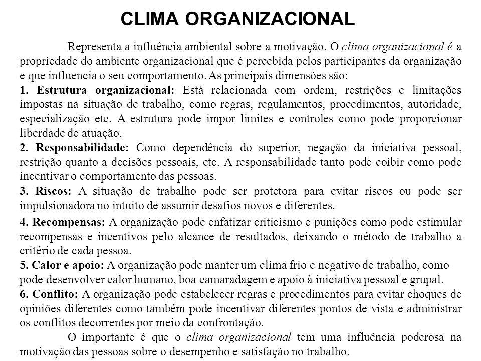 CLIMA ORGANIZACIONAL Representa a influência ambiental sobre a motivação. O clima organizacional é a propriedade do ambiente organizacional que é perc