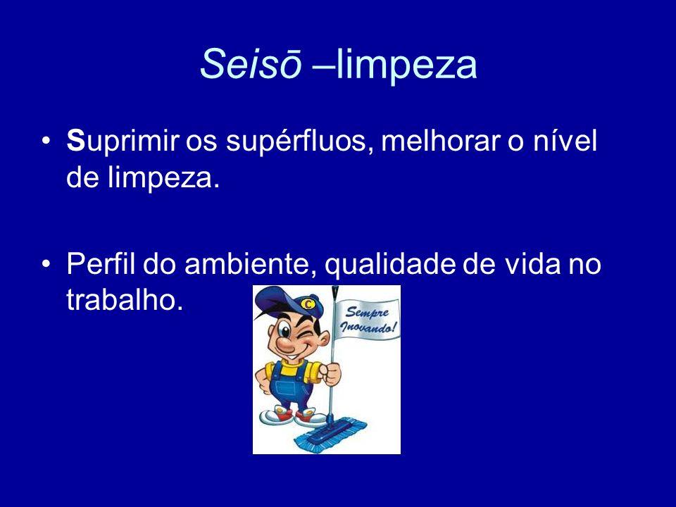 Seisō –limpeza Suprimir os supérfluos, melhorar o nível de limpeza. Perfil do ambiente, qualidade de vida no trabalho.