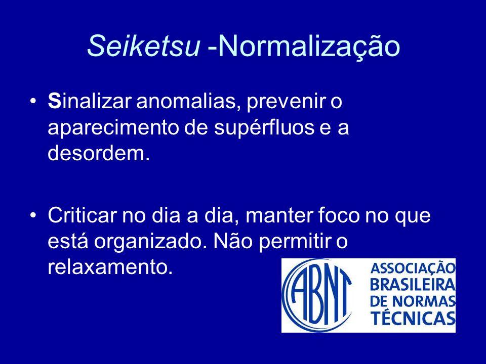 Seiketsu -Normalização Sinalizar anomalias, prevenir o aparecimento de supérfluos e a desordem. Criticar no dia a dia, manter foco no que está organiz