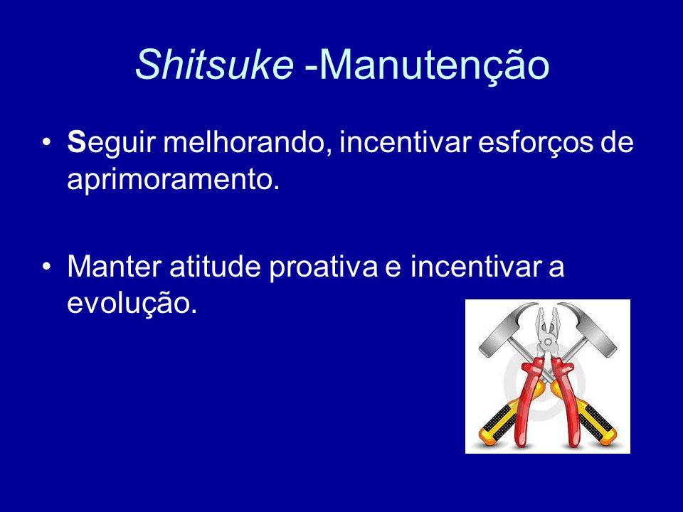 Shitsuke -Manutenção Seguir melhorando, incentivar esforços de aprimoramento. Manter atitude proativa e incentivar a evolução.