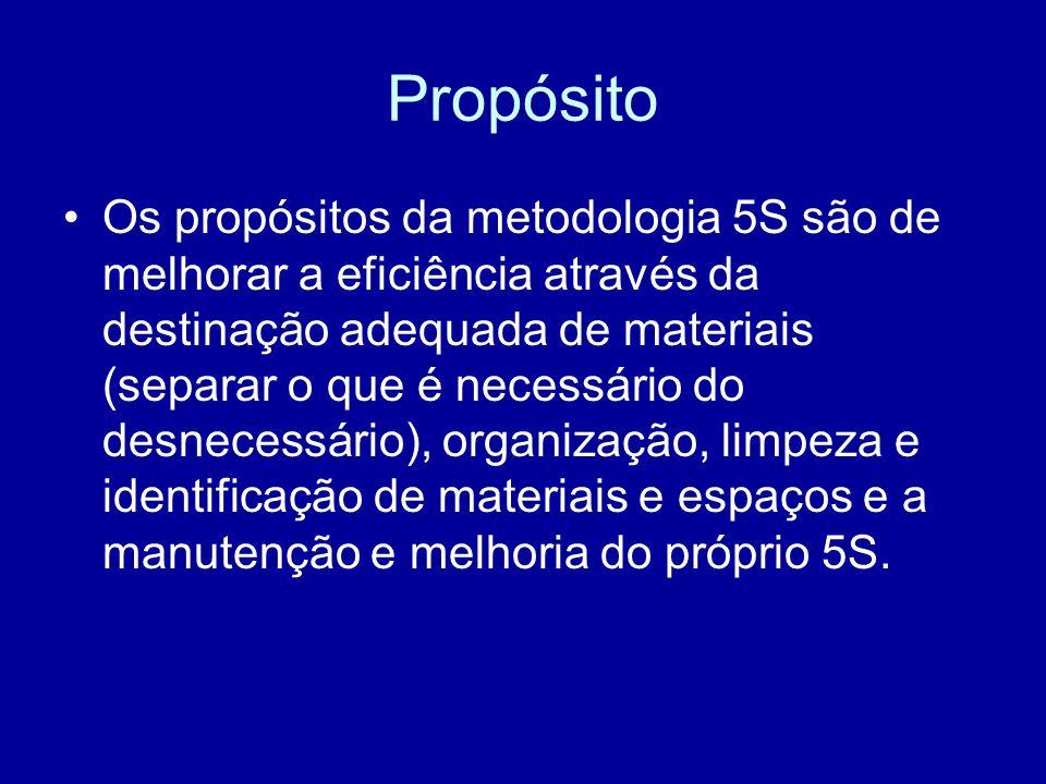 Propósito Os propósitos da metodologia 5S são de melhorar a eficiência através da destinação adequada de materiais (separar o que é necessário do desn