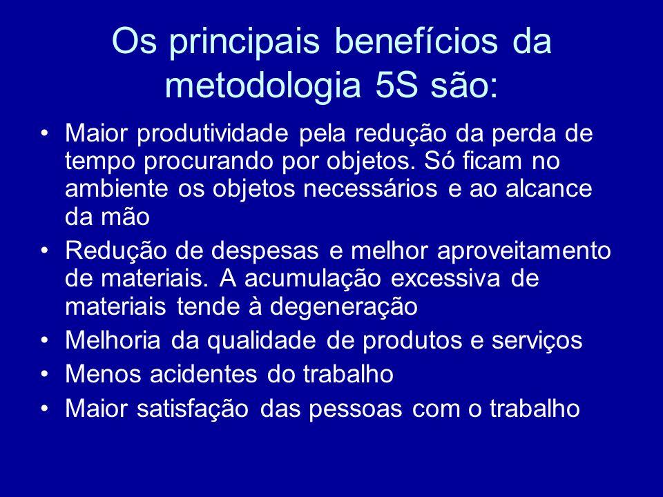 Os principais benefícios da metodologia 5S são: Maior produtividade pela redução da perda de tempo procurando por objetos. Só ficam no ambiente os obj