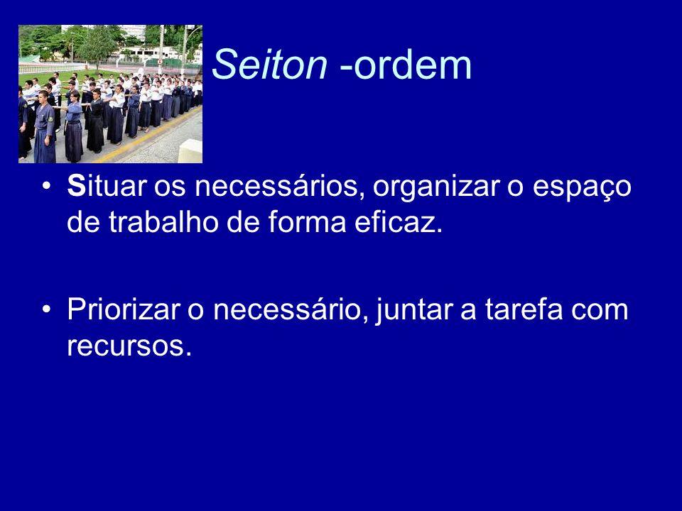 Seiton -ordem Situar os necessários, organizar o espaço de trabalho de forma eficaz. Priorizar o necessário, juntar a tarefa com recursos.