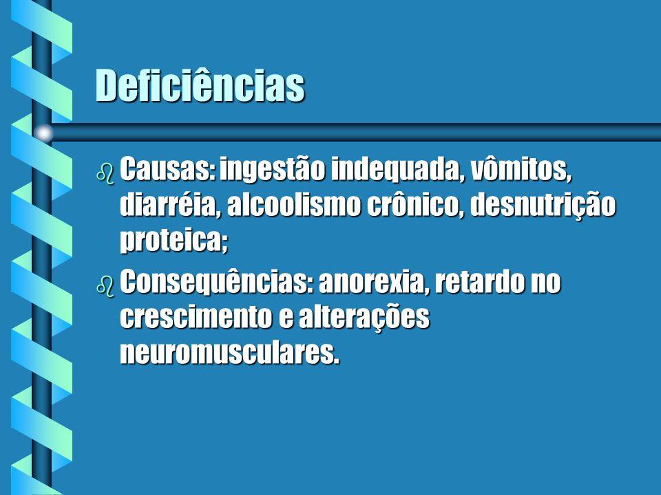 Deficiências b Causas: ingestão indequada, vômitos, diarréia, alcoolismo crônico, desnutrição proteica; b Consequências: anorexia, retardo no crescime