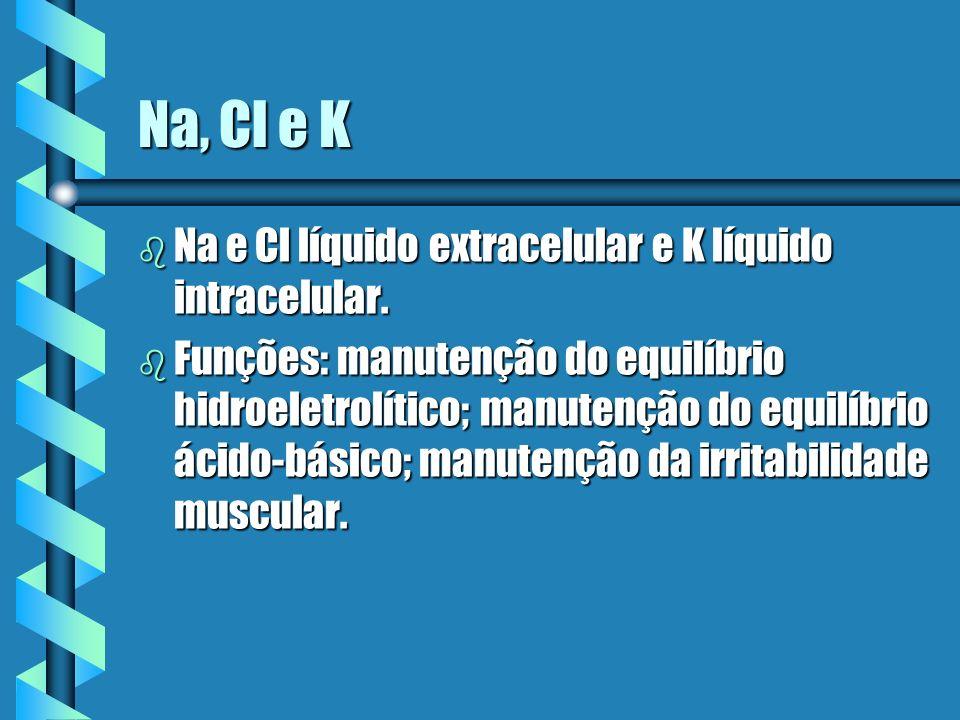 Na, Cl e K b Na e Cl líquido extracelular e K líquido intracelular. b Funções: manutenção do equilíbrio hidroeletrolítico; manutenção do equilíbrio ác