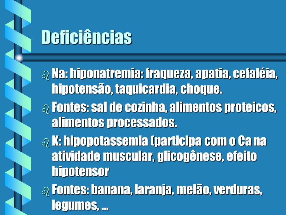 Deficiências b Na: hiponatremia: fraqueza, apatia, cefaléia, hipotensão, taquicardia, choque. b Fontes: sal de cozinha, alimentos proteicos, alimentos