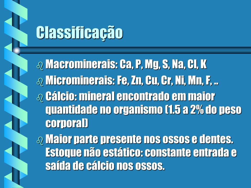 Classificação b Macrominerais: Ca, P, Mg, S, Na, Cl, K b Microminerais: Fe, Zn, Cu, Cr, Ni, Mn, F,.. b Cálcio: mineral encontrado em maior quantidade