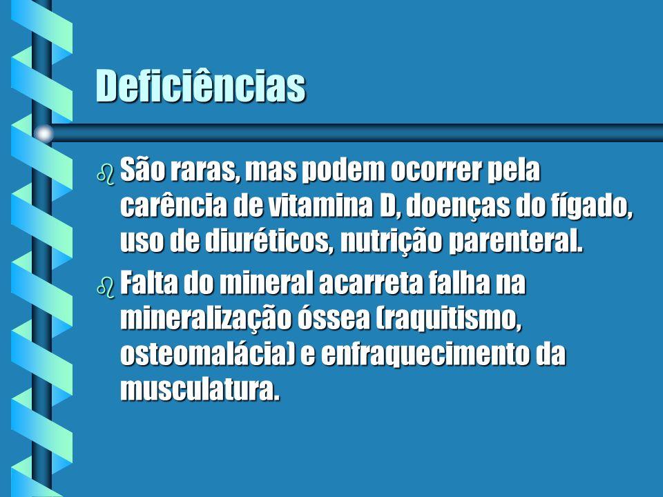 Deficiências b São raras, mas podem ocorrer pela carência de vitamina D, doenças do fígado, uso de diuréticos, nutrição parenteral. b Falta do mineral