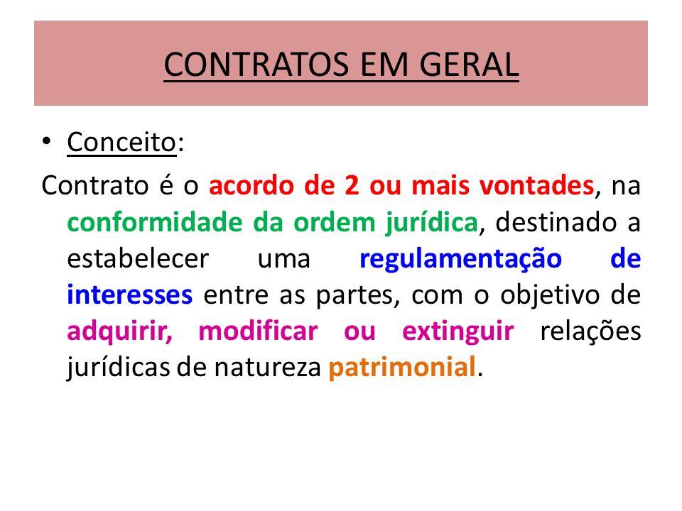 CONTRATOS EM GERAL Conceito: Contrato é o acordo de 2 ou mais vontades, na conformidade da ordem jurídica, destinado a estabelecer uma regulamentação