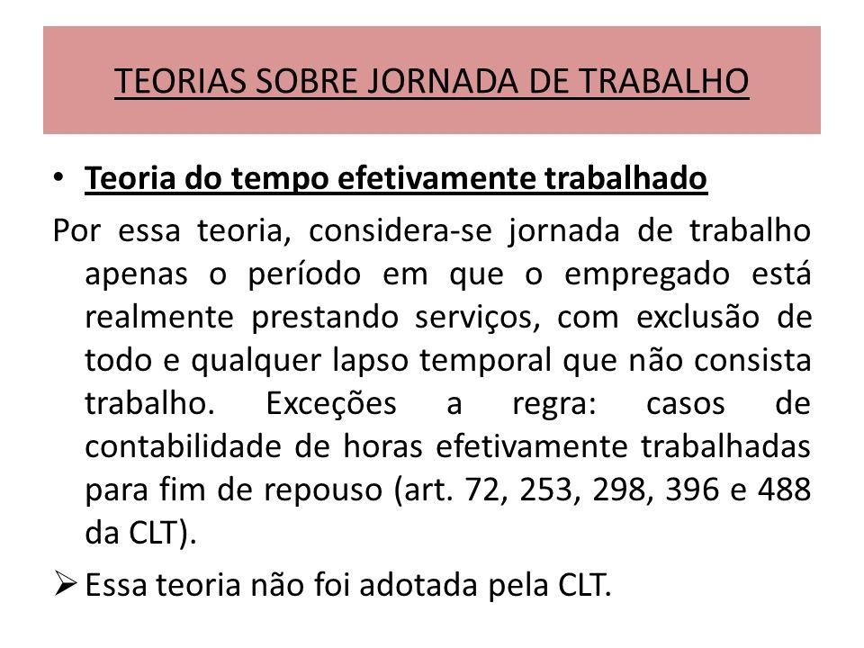TEORIAS SOBRE JORNADA DE TRABALHO Teoria do tempo efetivamente trabalhado Por essa teoria, considera-se jornada de trabalho apenas o período em que o