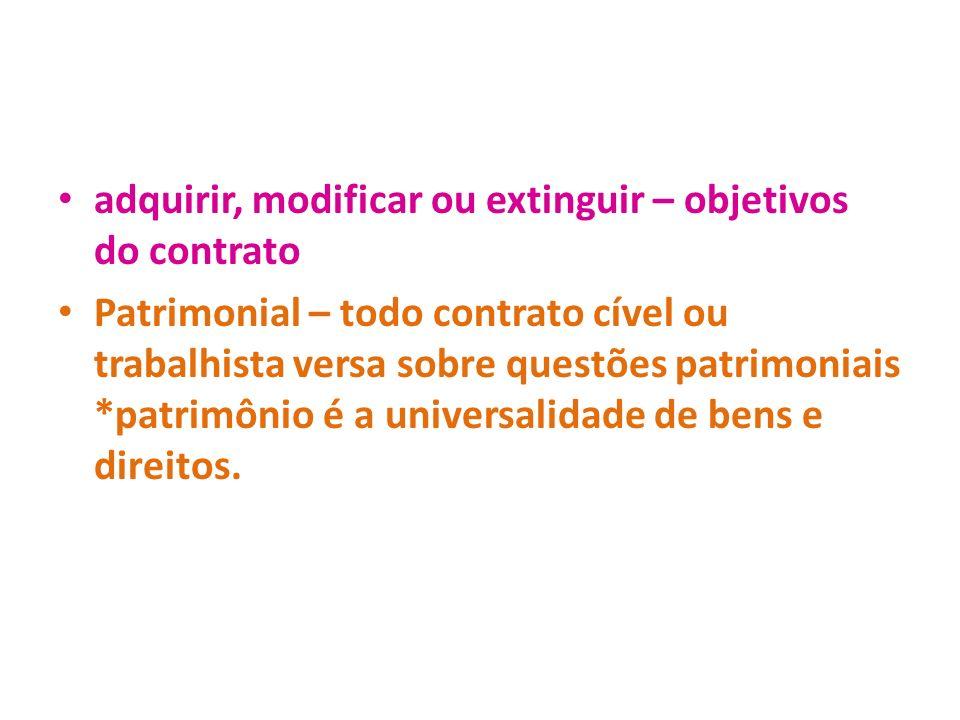 adquirir, modificar ou extinguir – objetivos do contrato Patrimonial – todo contrato cível ou trabalhista versa sobre questões patrimoniais *patrimôni