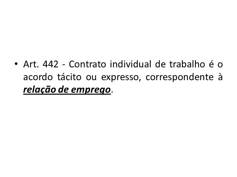 Art. 442 - Contrato individual de trabalho é o acordo tácito ou expresso, correspondente à relação de emprego.