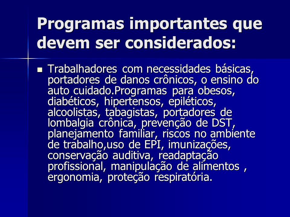 Programas importantes que devem ser considerados: Trabalhadores com necessidades básicas, portadores de danos crônicos, o ensino do auto cuidado.Progr