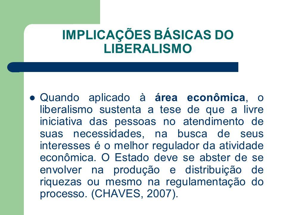 IMPLICAÇÕES BÁSICAS DO LIBERALISMO Quando aplicado à área econômica, o liberalismo sustenta a tese de que a livre iniciativa das pessoas no atendiment