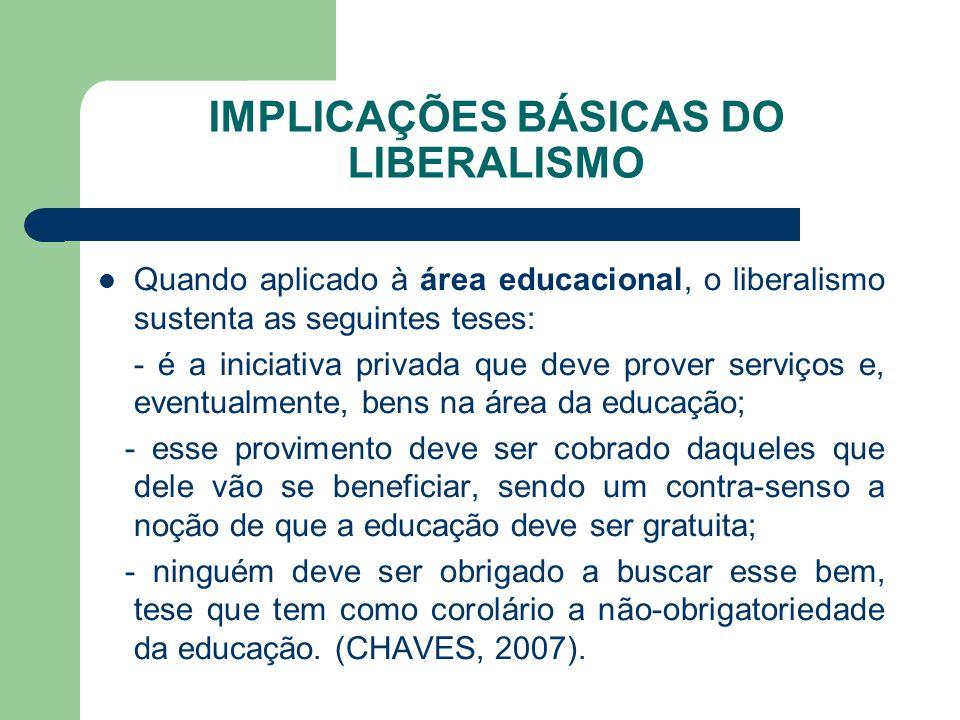 IMPLICAÇÕES BÁSICAS DO LIBERALISMO Quando aplicado à área educacional, o liberalismo sustenta as seguintes teses: - é a iniciativa privada que deve pr