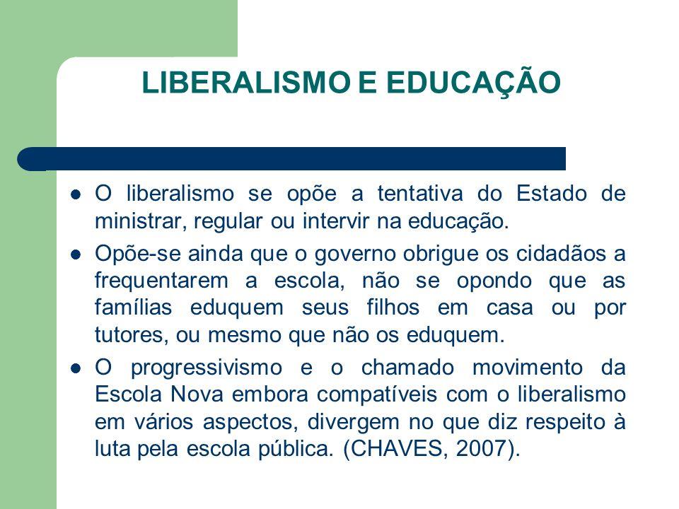 LIBERALISMO E EDUCAÇÃO O liberalismo se opõe a tentativa do Estado de ministrar, regular ou intervir na educação. Opõe-se ainda que o governo obrigue