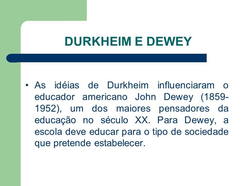 DURKHEIM E DEWEY As idéias de Durkheim influenciaram o educador americano John Dewey (1859- 1952), um dos maiores pensadores da educação no século XX.