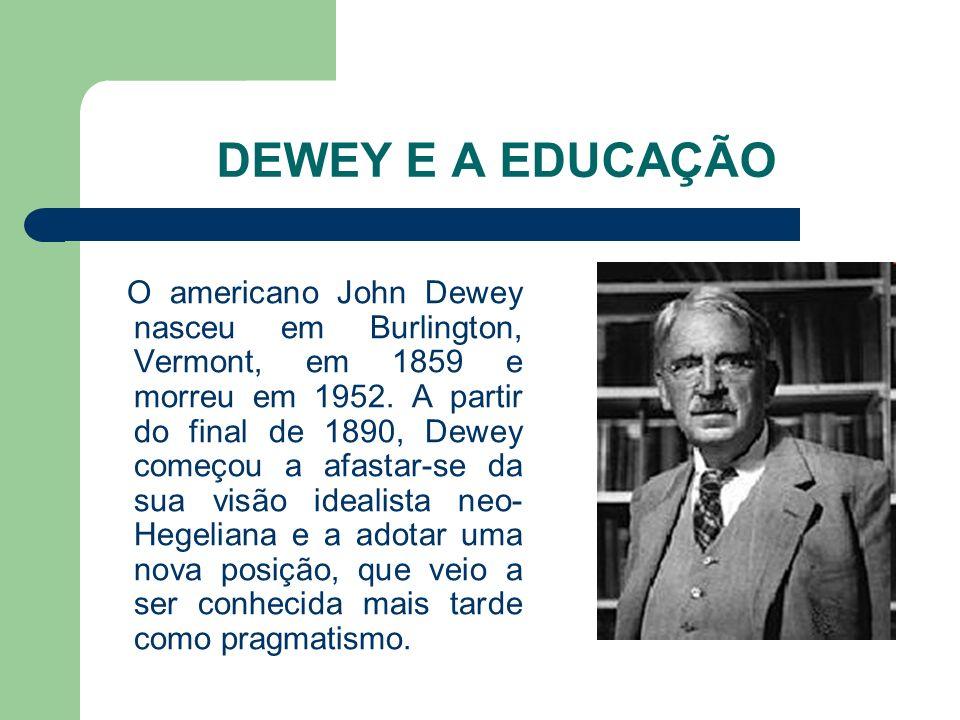 DEWEY E A EDUCAÇÃO O americano John Dewey nasceu em Burlington, Vermont, em 1859 e morreu em 1952. A partir do final de 1890, Dewey começou a afastar-