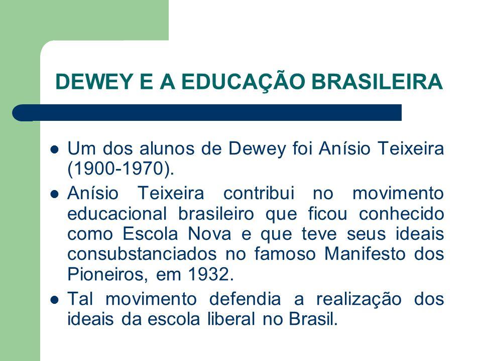 DEWEY E A EDUCAÇÃO BRASILEIRA Um dos alunos de Dewey foi Anísio Teixeira (1900-1970). Anísio Teixeira contribui no movimento educacional brasileiro qu