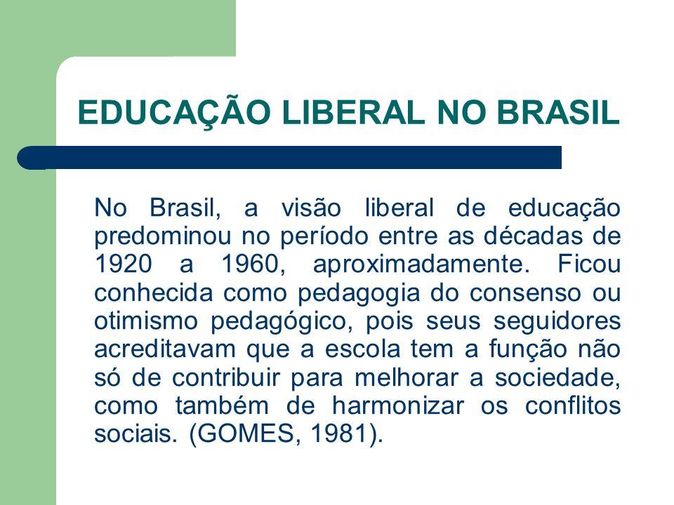 EDUCAÇÃO LIBERAL NO BRASIL No Brasil, a visão liberal de educação predominou no período entre as décadas de 1920 a 1960, aproximadamente. Ficou conhec