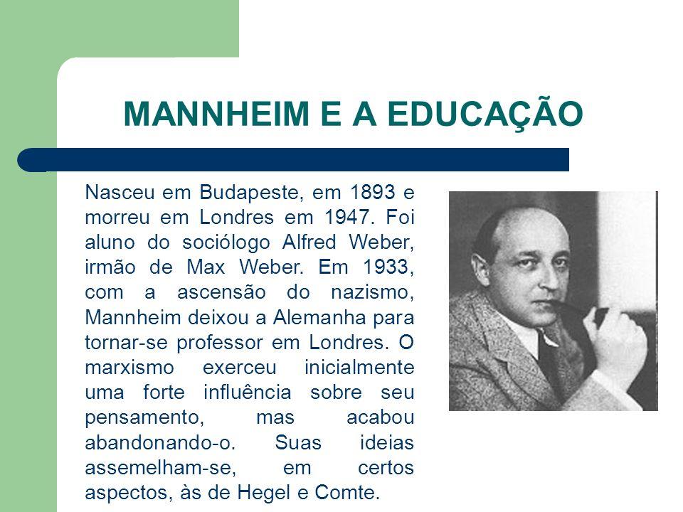 MANNHEIM E A EDUCAÇÃO Nasceu em Budapeste, em 1893 e morreu em Londres em 1947. Foi aluno do sociólogo Alfred Weber, irmão de Max Weber. Em 1933, com