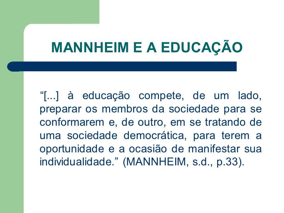 MANNHEIM E A EDUCAÇÃO [...] à educação compete, de um lado, preparar os membros da sociedade para se conformarem e, de outro, em se tratando de uma so