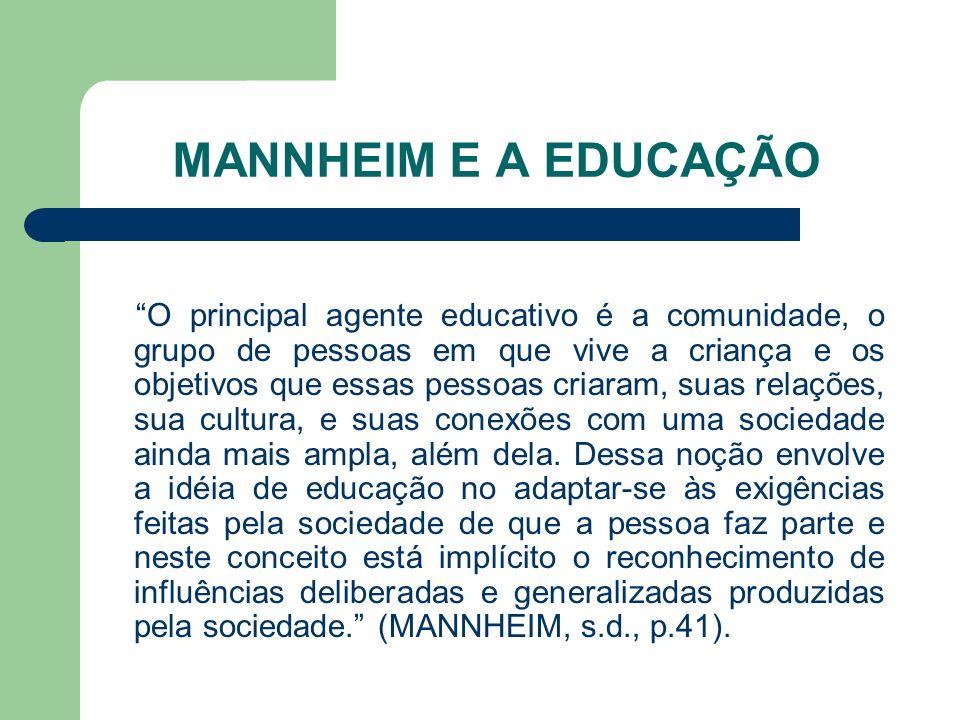 MANNHEIM E A EDUCAÇÃO O principal agente educativo é a comunidade, o grupo de pessoas em que vive a criança e os objetivos que essas pessoas criaram,