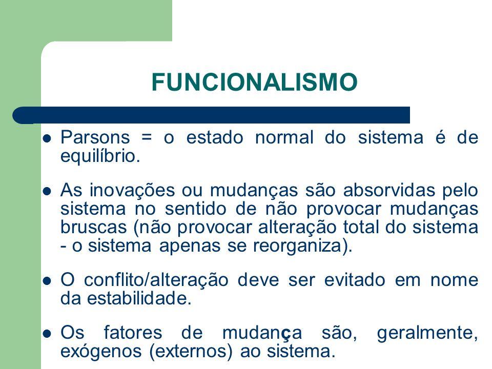 FUNCIONALISMO Parsons = o estado normal do sistema é de equilíbrio. As inovações ou mudanças são absorvidas pelo sistema no sentido de não provocar mu