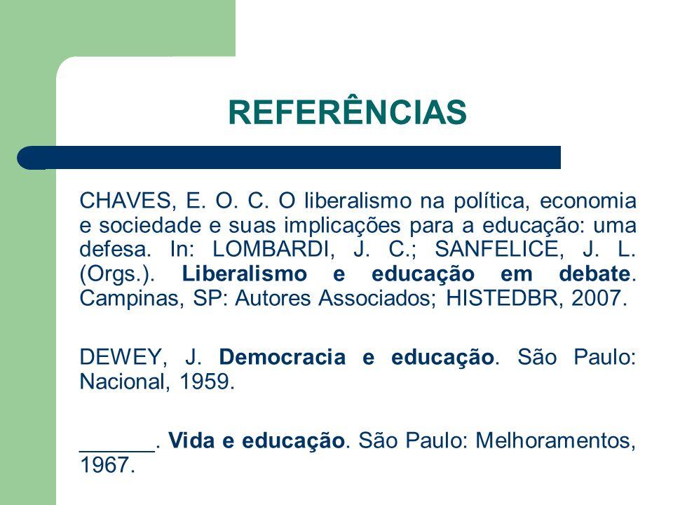 REFERÊNCIAS CHAVES, E. O. C. O liberalismo na política, economia e sociedade e suas implicações para a educação: uma defesa. In: LOMBARDI, J. C.; SANF