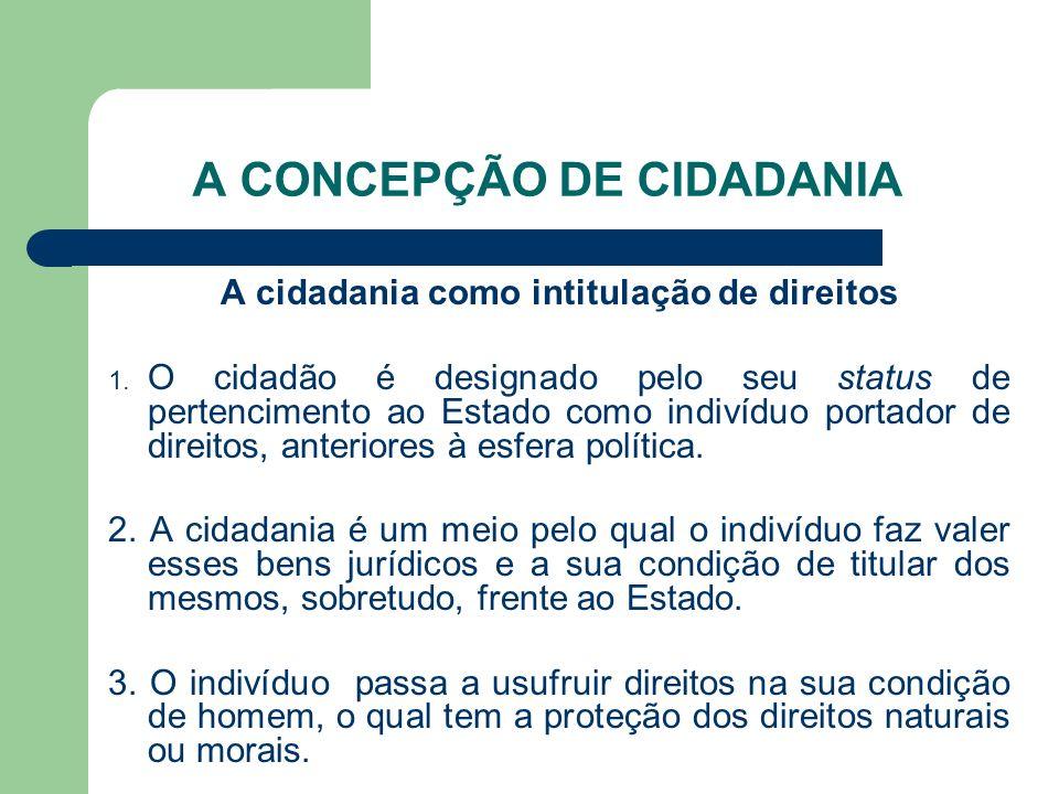 A CONCEPÇÃO DE CIDADANIA A cidadania como intitulação de direitos 1. O cidadão é designado pelo seu status de pertencimento ao Estado como indivíduo p