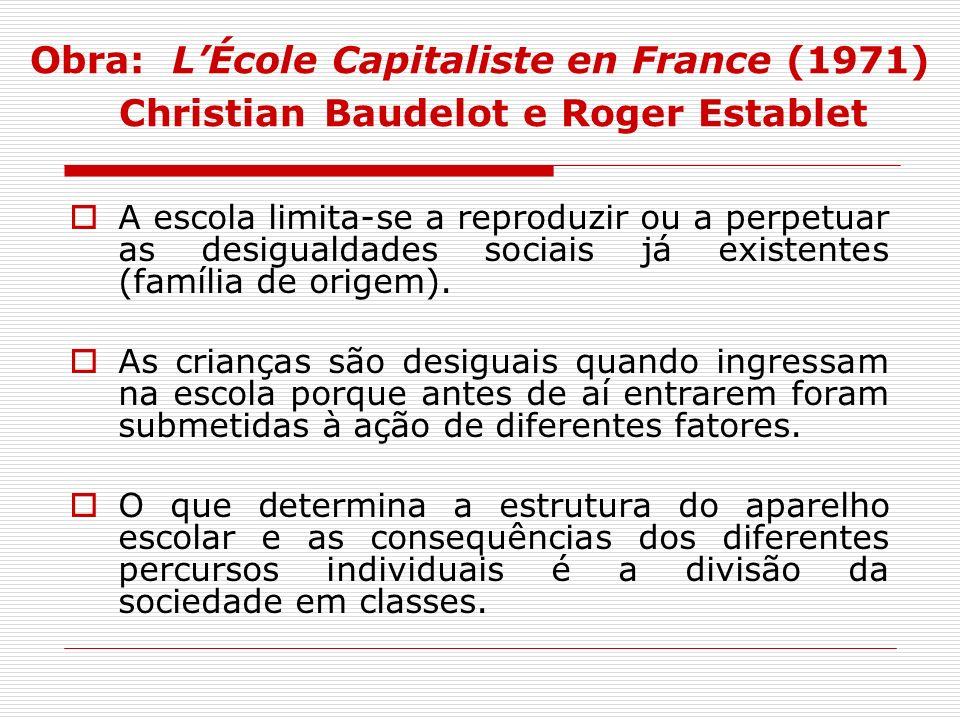 Obra: LÉcole Capitaliste en France (1971) Christian Baudelot e Roger Establet A escola limita-se a reproduzir ou a perpetuar as desigualdades sociais