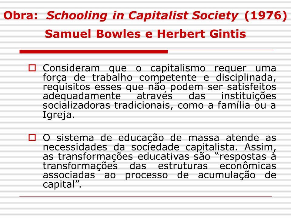 Obra: Schooling in Capitalist Society (1976) Samuel Bowles e Herbert Gintis Consideram que o capitalismo requer uma força de trabalho competente e dis