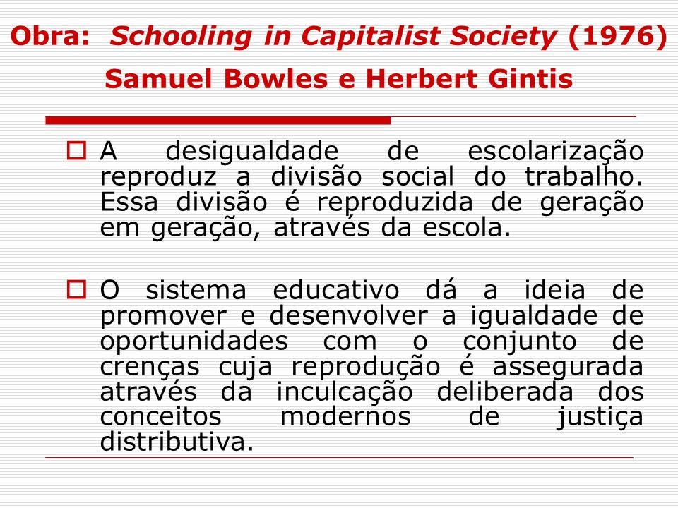 A desigualdade de escolarização reproduz a divisão social do trabalho. Essa divisão é reproduzida de geração em geração, através da escola. O sistema