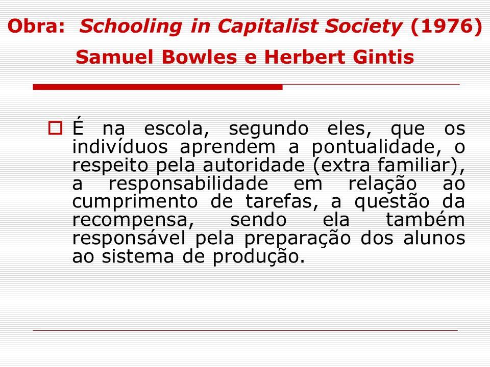 Obra: Schooling in Capitalist Society (1976) Samuel Bowles e Herbert Gintis É na escola, segundo eles, que os indivíduos aprendem a pontualidade, o re
