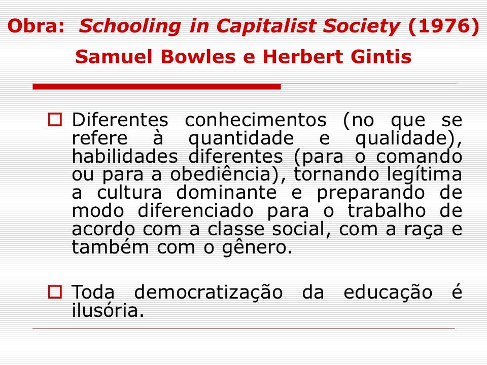 Obra: Schooling in Capitalist Society (1976) Samuel Bowles e Herbert Gintis Diferentes conhecimentos (no que se refere à quantidade e qualidade), habi