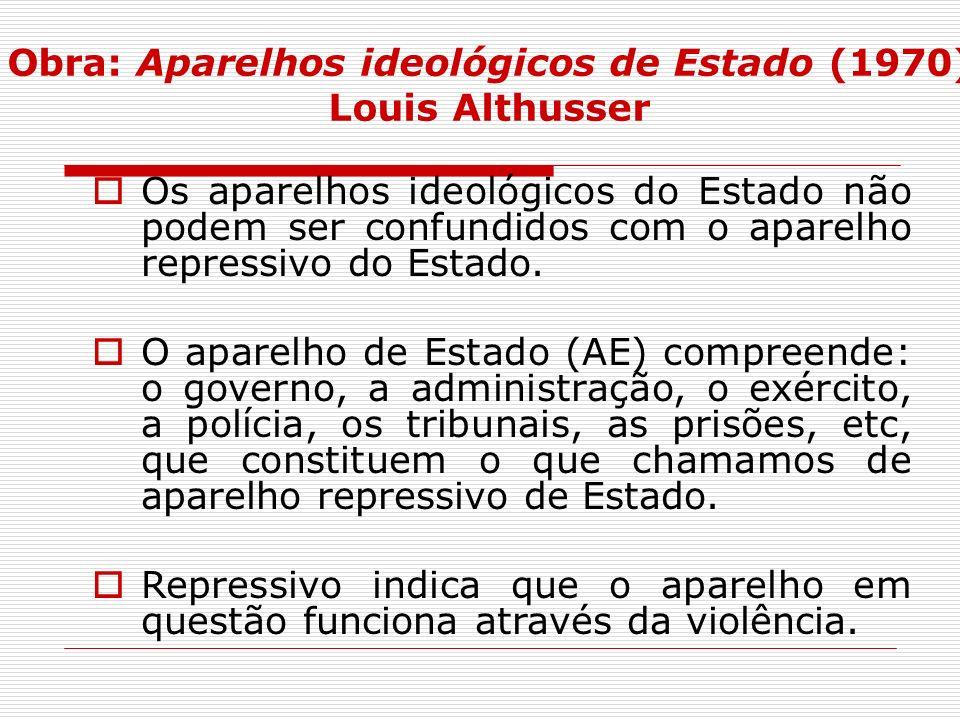 Obra: Aparelhos ideológicos de Estado (1970) Louis Althusser Os aparelhos ideológicos do Estado não podem ser confundidos com o aparelho repressivo do