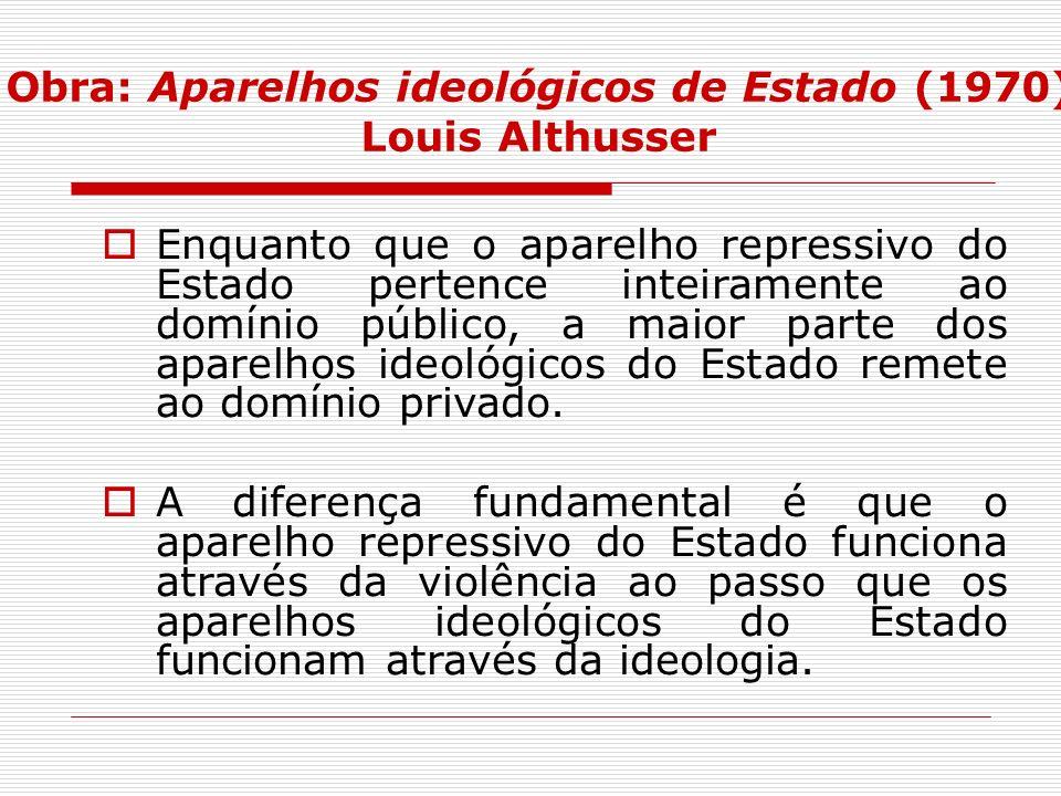 Obra: Aparelhos ideológicos de Estado (1970) Louis Althusser Enquanto que o aparelho repressivo do Estado pertence inteiramente ao domínio público, a
