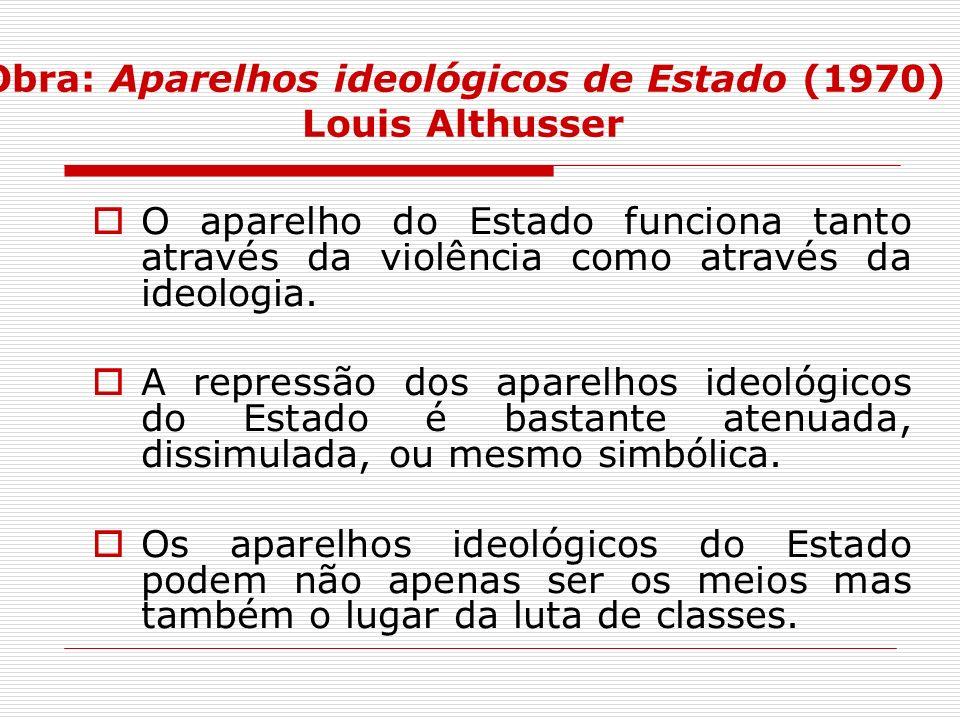 Obra: Aparelhos ideológicos de Estado (1970) Louis Althusser O aparelho do Estado funciona tanto através da violência como através da ideologia. A rep