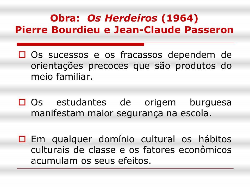 Obra: Os Herdeiros (1964) Pierre Bourdieu e Jean-Claude Passeron Os sucessos e os fracassos dependem de orientações precoces que são produtos do meio