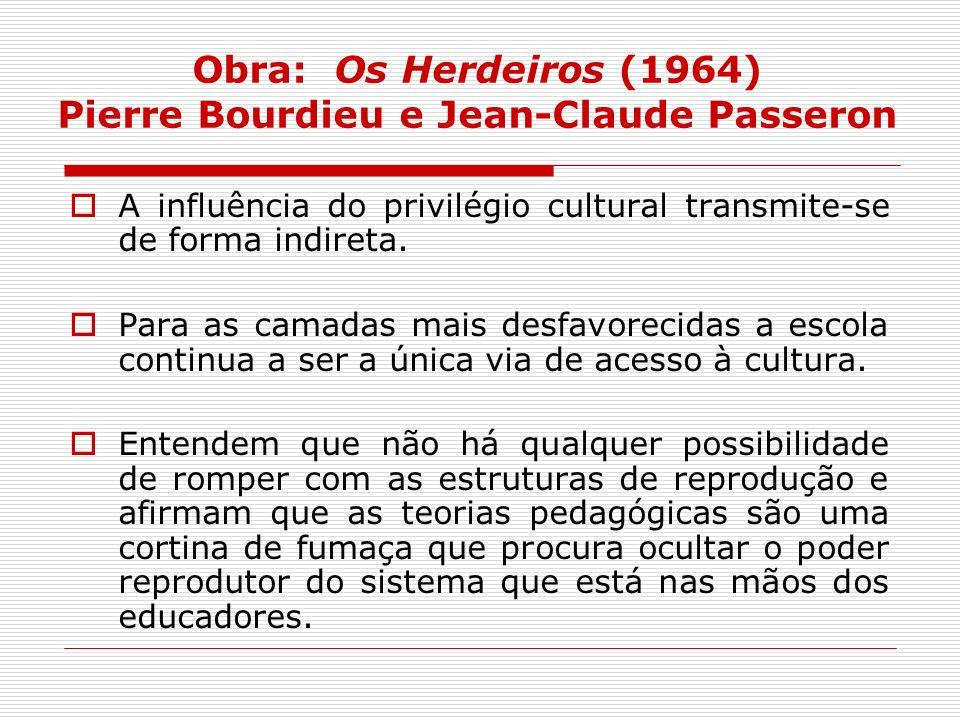 Obra: Os Herdeiros (1964) Pierre Bourdieu e Jean-Claude Passeron A influência do privilégio cultural transmite-se de forma indireta. Para as camadas m