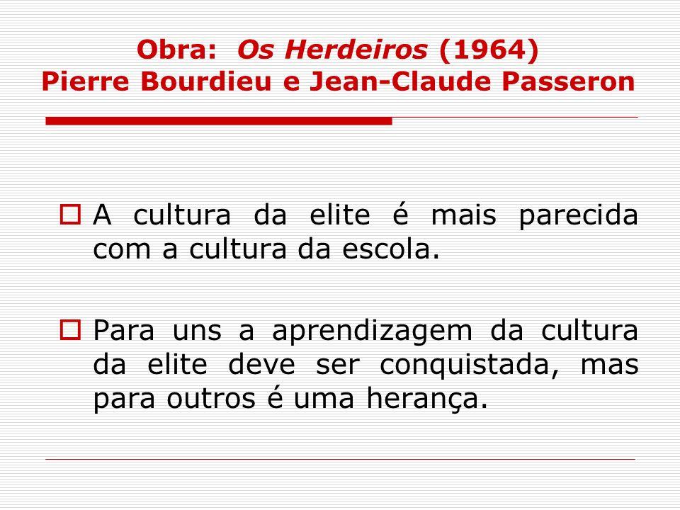 Obra: Os Herdeiros (1964) Pierre Bourdieu e Jean-Claude Passeron A cultura da elite é mais parecida com a cultura da escola. Para uns a aprendizagem d